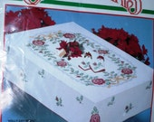 BUCILLA CHRISTMAS Tablecloth Stamped Cross Stitch Kit Holly Day Roses #82788 Holidays