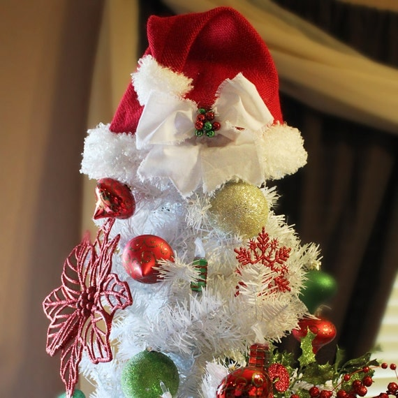Santa Hat Christmas Tree Topper: Red Burlap Santa Hat Christmas Tree Topper By BackRoadsFaith