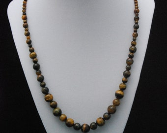 Tiger's Eye Long Drape Statement Neutral Necklace