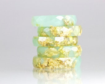 Resin Ring - Jade Green Faceted Eco Resin Ring with Gold Flakes -Jade Ring - Stack Ring -Resin Jewelry - Green Ring - Gift for her - Gold