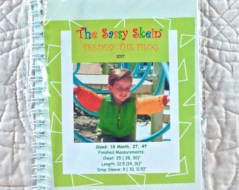Boys Girls, Sweater Knitting Pattern, Sassy Skein, Childrens Knitwear, 1017 Freddy The Frog, Size 18mo 2T 4T