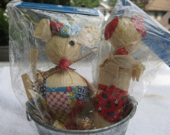 Vintage Shiny Brite Girl Boy Mouse Christmas Ornament  Decoration Ornament Poloron 1960s Corn Husk Berries