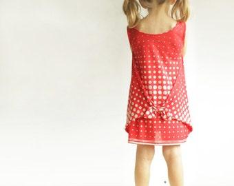 Red DRESS sewing pattern - simple toddler dress pdf pattern - sizes 3 year to 8 years