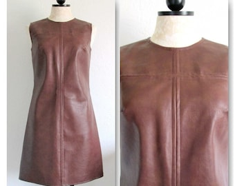 Mod Vintage 1960s Dress Brown Naugahyde Vinyl Sleeveless by Helen Whiting- Size 7