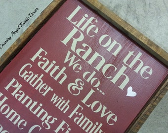 """Life on the RANCH  Rustic distressed typography wood sign 12""""x24"""", RANCH DECOR, Cowboy sign, Rustic Farm & Ranch Sign, Original western"""