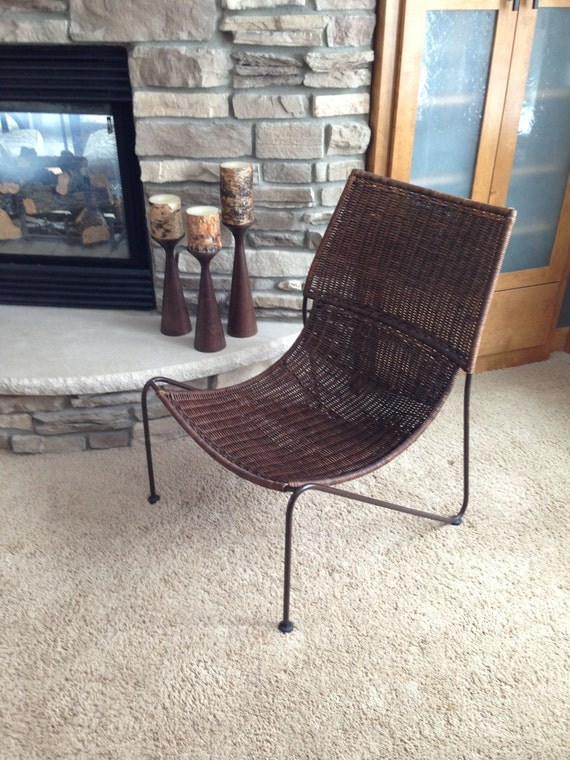 Wicker Amp Wrought Iron Sling Scoop Chair Frederic Weinberg