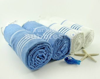 Set of 4 Turkish Towel Blue White BEACH Towels Peshtemal Turkish Bath Towels, Hammam Spa Towel, Fouta Towel, Pareo