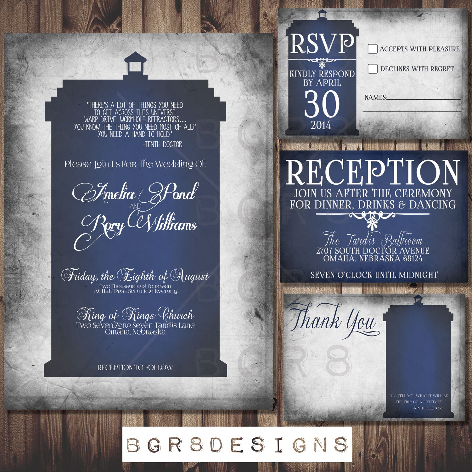 doctor who tardis wedding invitation set by totallyinvited