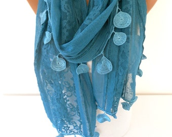 Lace Scarf Teal Blue Scarf Teal Wedding Scarf Bridal Accessories Cowl Winter Scarf  Women Holiday Fashion Accessories Gift Ideas For Her
