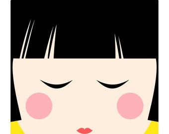 Kokeshi Doll No. 3, Original Art Print, Japanese Doll, Kid's Wall Art, Kid's Room Decor
