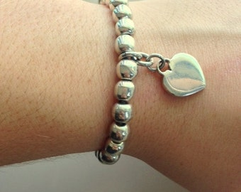 Vintage Sterling Silver Hearts and Beads Bracelet - Strong Elastic Band - 20.31 Grams