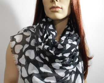 Heart Scarf Black White Scarf Shawl Women Cotton Cowl Scarf Christmas Gift Valentines Day Fashion Accessories New Year Gift Ideas For Her