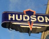 Hudson Car Sign Photograph. Retro Neon Sign Photo. Industrial Home Decor. Rustic Mid Century Wall Art. Name Sign Nursery Decor Canvas