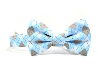 Blue Argyle Dog Bow Tie Collar Grey White Wedding Dog Bowtie Collar