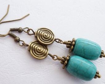 SALE 20% OFF Turquoise earrings, blue earrings, gemstone earrings, antique bronze earrings, ethnic style earrings, magnesite earrings