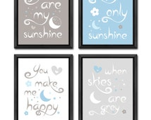 moon and star baby wall decor you are my sunshine baby decor moon and stars new baby gift baby nursery quotes you are my sunshine prints