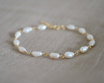 White Freshwater Pearl Bracelet, Gold Filled Chain