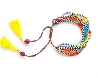 Adjustable Seed Bead Bracelet African Bracelet Multistrand Bracelet Yellow Tassel Bracelet Masai Bracelet