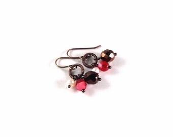 Grade A Freshwater Pearl & Fire Polished Czech Glass Beaded Earrings - Natural Brass - Unique Earrings, Trinity Earrings, Gift for Her