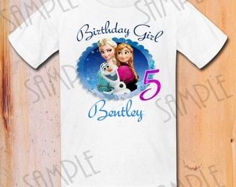 T-shirt Disney FROZEN Iron On Transfer Printable Birthday Girl Elsa Olaf Anna digital download Personalized DIY Frozen Birthday Party shirt