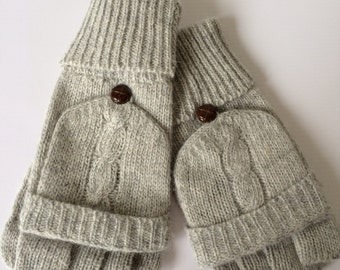 Cable knit Gloves, Grey Knitted Gloves, Fingerless Wool Blend Gloves, Ladies Winter Mittens, Angora Mitts