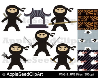 Ninjas Digital Clip Art, Instant Download