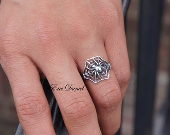 Spider Ring Sterling Silver, Available in Silver, Yellow Gold or Rose Gold, Spider Web Ring, Spider Jewelry, Spiders