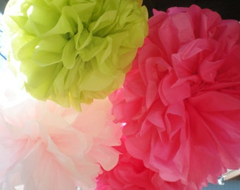 "6 pom poms, 9-12"" diameters, light pink, hot pink, lime green"