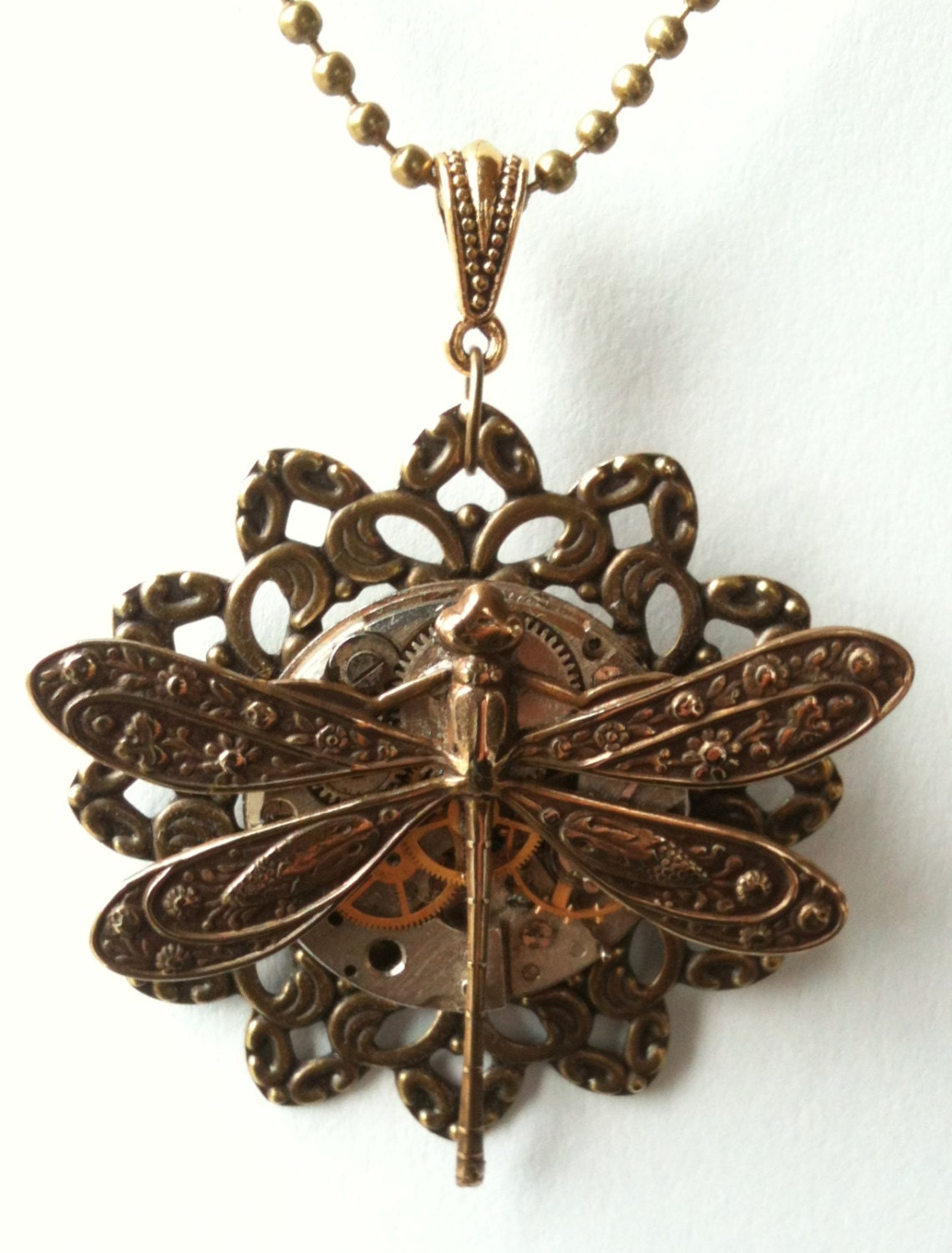 Dragonfly Steampunk Necklace Unique Steampunk Pendant
