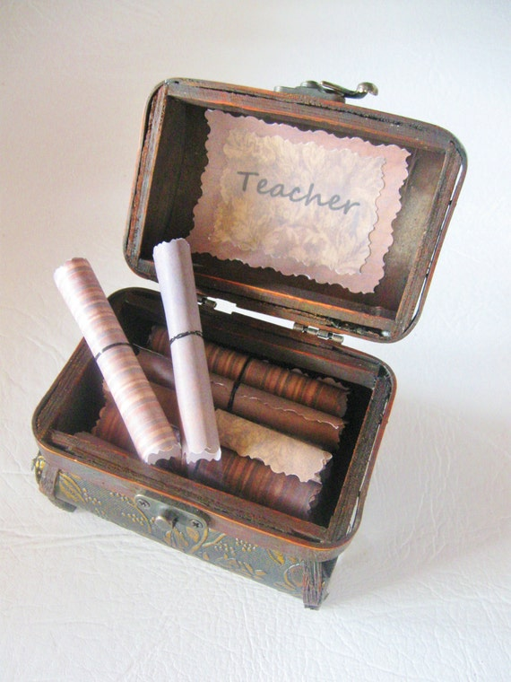 Unique Gift for Teacher, Teacher Scroll Box, Wood Treasure Chest filled with Teacher Appreciation Quotes, Personalized, Teacher Appreciation