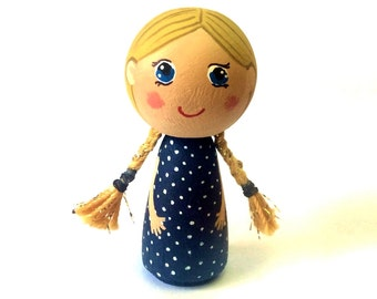 Kokeshi Peg Doll, Kokeshi Doll, Wood Peg Doll, Little Girl Doll, Dollhouse Miniature Doll, Doll Figurine, Cute Little Girl, Little Doll,