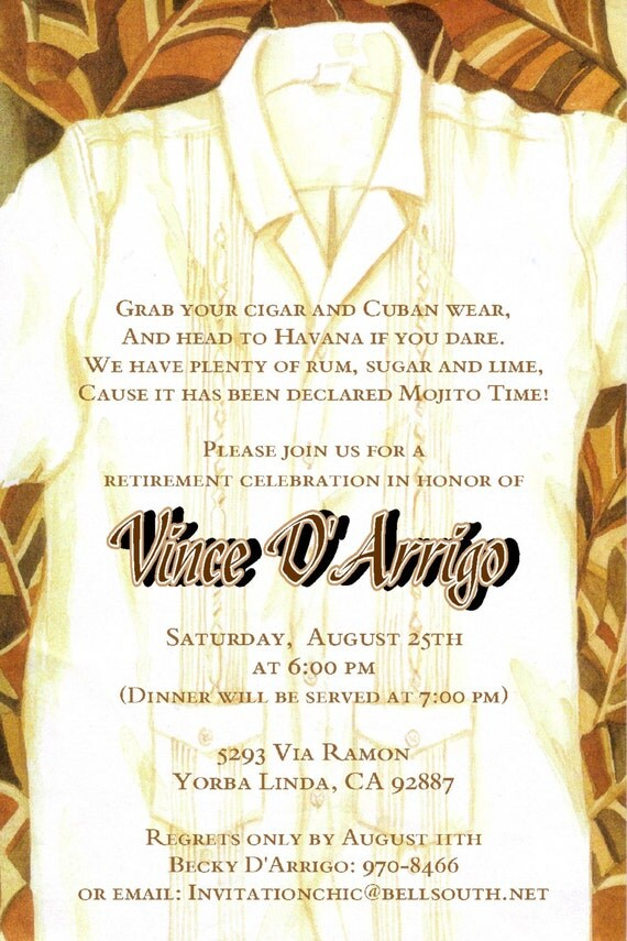 Cuban Themed Invitations