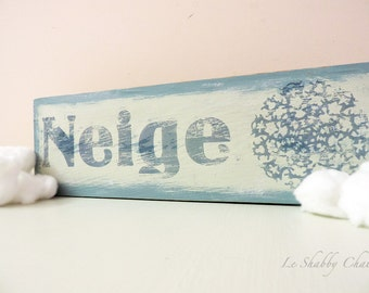 Wooden Plaque Shabby Chic Turquoise Neige