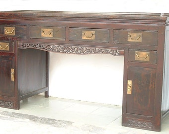 19th Century exquisite Rare Antique Chinese Asian Elm wood carved Qing dynasty desk, Circa 1800's ~ accent for your home or office