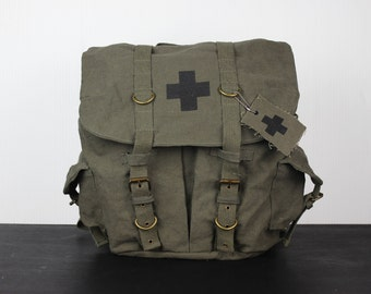 Army Medic Backpack Rucksack Book Bag Olive Drab with Black Cross