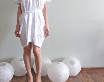 minimalist kimono-inspired cocoon silhouette belted shirt dress