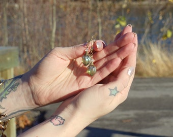 Lustrous Ivy Green Czech Melon Vintage Inspired Earrings