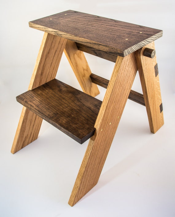 Handmade Solid Oak Folding Step Stool