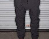 Grey Pinstripe Dress Pants - Mens Joggers or  Drop Crotch /  Harem Pants - Tailored Street Fashion
