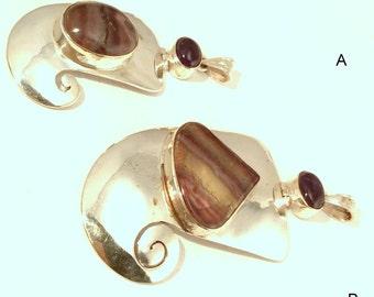 Large Spiral Sterling Silver, Fluorite & Amethyst Pendant. Hinged, Fishtail, Mermaid, Purple. free US ship