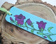 Handpainted Bookmark Purple Flowers Canterbury Bells or Bells of Holland on Blue Stiffened Foam Bookmark with Green Ribbon