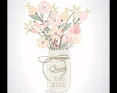 """Wedding clipart, jar and flowers clipart, wedding invitation clip art, save the date clipart, 12x12"""" in 300dpi jpg, png and vector ai, pdf."""