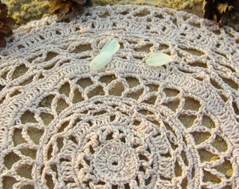 Handmade hand crocheted pale pink doily can be used like altar clothing made of cotton wiccan witch pagan ritual tool