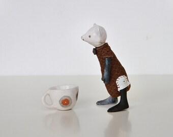 White, little polar bear - Artist Teddy Bear, Granny art toys collection