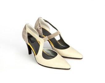 Vashti Womens Leather Shoes Off White Cream Ivory Pearl Wedding Pumps Dress High Heels Pointy Toe