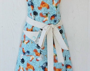 Blue Rooster Apron , Chicken Motif , Retro Full Apron , Blue Damask , Roosters, Americana , Country Kitchen , KitschNStyle