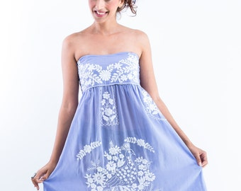 Front Row Fan Soft Mexican Dress, Lavander Light Blue Dress for Bridesmaid and Boho