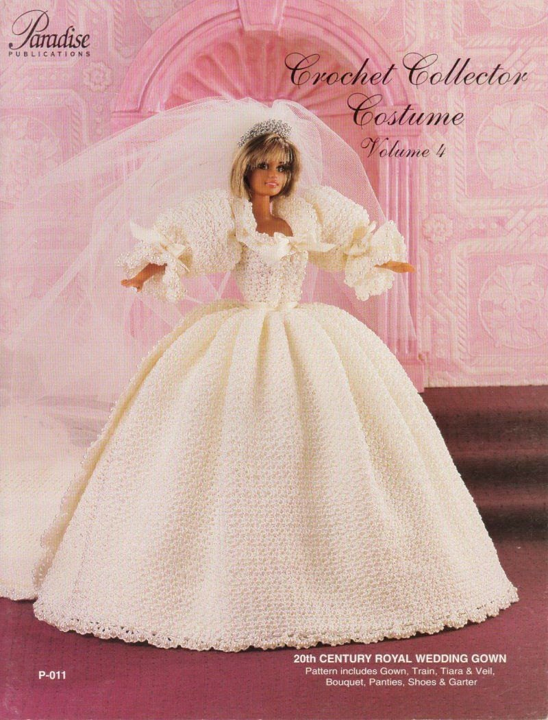 Royal wedding gown crochet doll dress clothes pattern for Wedding dress patterns free download