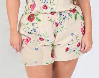 Sweet Plus Size Romper / Short Sleeve Beige Floral Print Romper / Jumper 1X Romper  2X Romper 3X Romper