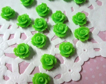 Lime green 10mm rose cabochons, cute green flower cabs
